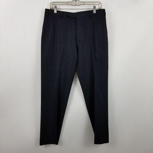 Armani Collezioni Mens Black Flat Front Dress Pant